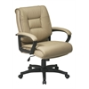 Office Star Deluxe Mid Back Executive Tan Glove Soft Leather Chair with Padded Loop Arms