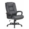 Office Star Executive High Back Dark Grey Glove Soft Leather Chair with Padded Loop Arms