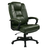 Office Star Executive High Back Green Glove Soft Leather Chair with Padded Loop Arms