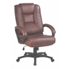 Office Star Executive High Back Saddle Glove Soft Leather Chair with Padded Loop Arms