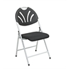 Office Star Folding Chair with Black Plastic Fan Back and  Fabric Seat with Silver  Frame (4-Pack)