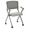 Office Star Folding Chair with breathable Mesh Back and Seat in Grey Finish Frame, 2-Pack