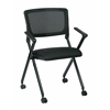 Office Star Folding Chair with breathable Mesh Back and Icon Black Seat in Black Finish Frame, 2-Pack