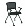 Office Star Folding Chair with Screen Back and Icon Black Seat in Titanium Finish Frame, 2-Pack