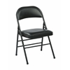 Office Star Folding Chair with Vinyl Seat and Back (Black) (4-Pack)