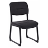 Office Star Faux Leather Black Visitor Chair with Sled Base