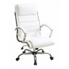 Office Star Executive Chair with thick padded White faux leather seat and back with built-in lumbar support and Chrome Finish Base
