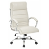 Office Star Executive Chair with thick padded Cream faux leather seat and back with built-in lumbar support and Chrome Finish Base