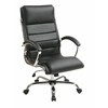 Office Star Executive Chair with thick padded Black faux leather seat and back with built-in lumbar support and Chrome Finish Base