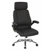 Office Star Executive Faux Leather Chair with Metal Chrome Base and Black Faux Leather