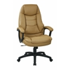 Office Star Oversized Executive Tan Faux Leather Chair with Padded Arms