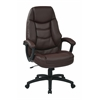 Office Star Oversized Executive Burgundy Faux Leather Chair with Padded Arms