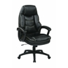 Office Star Oversized Executive Black Faux Leather Chair with Padded Arms