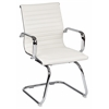 Office Star Mid Back White Faux Leather Office Chair with Chrome Arms and Sled Base