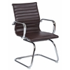 Office Star Mid Back Chocolate Faux Leather Office Chair with Chrome Arms and Sled Base
