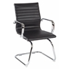 Office Star Mid Back Black Faux Leather Office Chair with Chrome Arms and Sled Base
