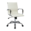 Office Star WorkSmart Thick Padded White Faux Leather Seat and Back with Built-in Lumbar Support