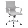 Office Star WorkSmart Thick Padded Milford Dove Seat and Back with Built-in Lumbar Support  and Chrome  Finish Base and Accents