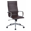 Office Star High Back Chocolate Faux Leather Office Chair with Arms, Chrome Finish Base and Accents