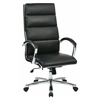 Office Star High Back Executive Black Faux Leather Chair with Polished Aluminum Finish and Padded Arms and Base