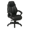Office Star Deluxe Oversized Executive Black Faux Leather Chair with Padded Arms