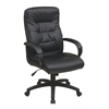 Office Star High Back Faux Leather Executive Chair with Padded Arms