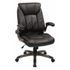 Office Star Faux Leather Mid Back Managers Chair with Padded Flip Arms