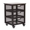 Office Star Garret Black 3 Drawer Rolling Cart with Espresso Wood Top, Fully Assembled.