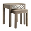 Helena Nesting Tables with Mirror Accent Panel(Greco Oak Finish)