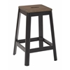 "Hammond 26"" Metal Barstool with Darkwood Seat and Frosted Black Frame Finish KD"
