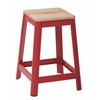 "Hammond 26"" Metal Barstool with Lightwood Seat and Frosted Red Frame Finish KD"