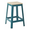 "Hammond 26"" Metal Barstool with Lightwood Seat and Frosted Teal Frame Finish KD"