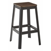 "Hammond 30"" Metal Barstool with Darkwood Seat and Frosted Black Frame Finish KD"