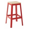 "Hammond 30"" Metal Barstool with Lightwood Seat and Frosted Red Frame Finish KD"