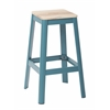 "Hammond 30"" Metal Barstool with Lightwood Seat and Frosted Teal Frame Finish KD"