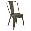 Office Star Indio Metal Chair with Vintage Ash Walnut Wood Seat, Matte Gunmetal Finish Frame, Fully Assembled, 2 Pack