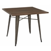 Indio Metal Table with Matte Gunmetal Frame Finish and Walnut Veneer Table Top