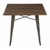 Office Star Indio Metal Table with Matte Gunmetal Frame Finish and Brown Veneer Table Top