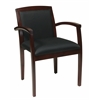 Leg Chair With Upholstered Back & Mahogany Finish