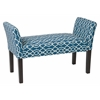 Office Star Kelsey Bench with Dark Espresso Legs and Abby Geo Blue Fabric