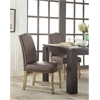 Office Star Kingman Dining Chair with Antique Bronze Nailheads and Brushed legs in Espresso Bonded Leather