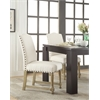Office Star Kingman Dining Chair with Antique Bronze Nailheads and Brushed legs in Linen Fabric