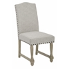 Office Star Kingman Dining Chair with Antique Bronze Nailheads and Brushed legs in Edward Flannel Fabric