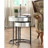 Office Star Krystal 2-piece Round Mirror Nesting Tables with Metal Legs Fully Assembled