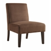 Office Star Laguna Chair in Chocolate Velvet Fabric with Dark Espresso Legs