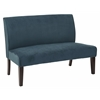 Office Star Lagua Loveseat in Azure Velvet fabric and Dark Espresso Legs