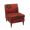 Office Star Madrid Accent Chair with Groovy Red Fabric and Espesso Solid Wood Caster Legs