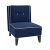 Office Star Ave Six Marina Accent Chair In Woven Indigo Fabric With Inner Box Spring & Solid Wood Legs