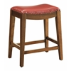 "Metro 24"" Saddle Stool with Nail Head Accents and Espresso Finish Legs with Cranberry Bonded Leather"