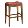 "Metro 29"" Saddle Stool with Nail Head Accents and Espresso Finish Legs with Cranberry Bonded Leather"